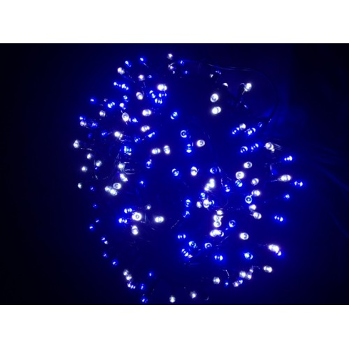 Blue & White LED Fairy Lights - Green Cable
