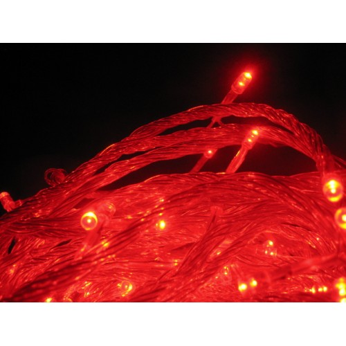 Red LED Fairy Lights - Clear Cable