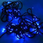 Blue LED Solar Fairy Lights - Green Cable