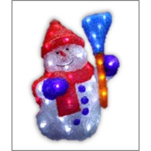3D Acrylic Snowman With Red Hat - 44CM High with 56LED Lights