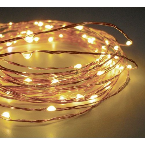 10M 100 LED Micro Bead Lights on Copper Wire - Warm White (Battery Power)