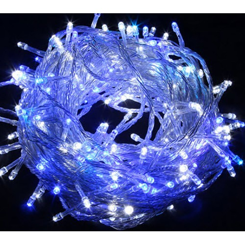 Blue & White LED Fairy Lights - Clear Cable