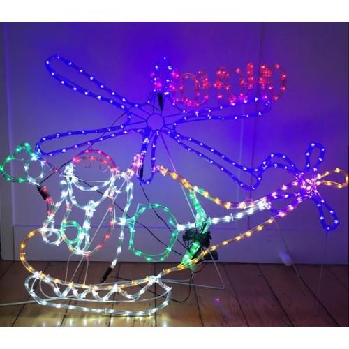 Santa Helicopter HO HO HO 150(W) X 78(H) Christmas Displays